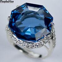 SPARKLING! 925 Silver Ring, SWISS BLUE TOPAZ MAIN STONE 22.15 CT. /PH0929