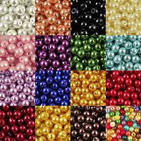 Gros Lot Perle Verre Ronde Nacrée Perles Pour Bracelet Bijoux Collier Crafts