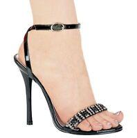 Ellie Shoes Black High Heel Ankle Strap Rhinestone Formal Dress Sandal US 7M