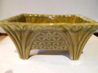 "Cookson Pottery FOOTED PLANTER CP- 1447 - USA Avocado 7""L  x 5 1/4"" W x 3 3/4""H"