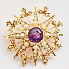 Antique Victorian 15ct Gold Amethyst & Pearl Star Brooch Pendant c1885