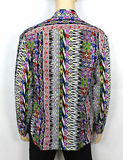 Homme VINTAGE 70 s style fou Prince Tribal Aztèque Rétro Festival Shirt Taille L