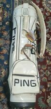 Vintage PING Cart Golf Bag White & Black Vinyl w/ 4-Way Divider (No Cover)