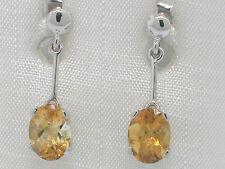Citrin Ohrhänger 585 Weißgold 14Kt Gold natürlicher facettierter Citrin