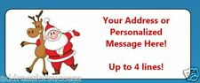 60 Personalized Santa with Reindeer Christmas Return Address Labels