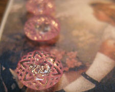 "4 Vintage 1/2"" Pink Painted Crystal Star Line Glass Buttons~1920's~new/old stock"