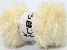 Lot of 4 x 100gr Skeins Ice Yarns EYELASH GLITZ Knitting Wool Cream