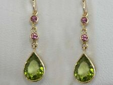 Genuine Solid 9ct Yellow Gold NATURAL Peridot & Pink Tourmaline Drop Earrings
