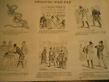 Vignettes 1888 Vélocipède comme huissiers le serpent et la lime Caricature