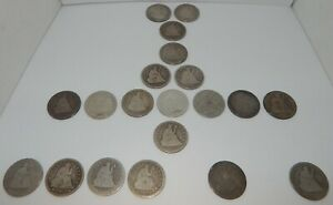 1853-1891 - Seated Liberty Quarters - 25¢ - Silver Coins - Lot of 20 Coins