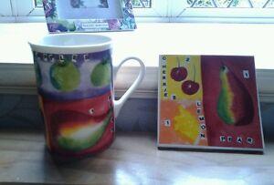 Beautiful....MUG and COASTER SET.....Fruit design...NEW/BOXED..