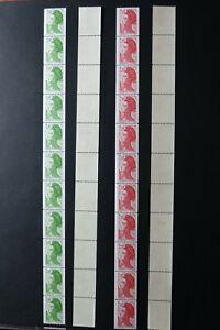 Philatélie - 2 roulettes de 11 timbres ** type Liberté 1984 n° rouge au verso
