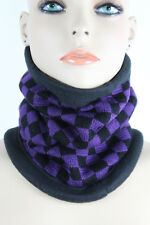 Women Men Scarf Turtleneck Warm Head Cover Outdoor Face Mask Sport Purple Check
