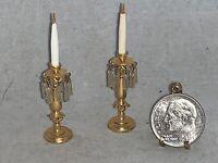 Vintage Miniature Dollhouse ELLEN KRUCKER BLAUER Miniature Mart GOLD CANDLESTICK