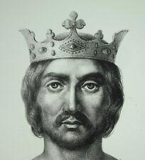 Antique print Philippe Ier roi des Francs dynastie des Capétiens directs c1850
