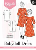 Womens The Simple Sew Babydoll Dress UK SIZES 8-20 Ladies Sewing Pattern #028