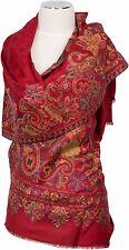 Pashmina Kani Schal Rot scarf stole 100% Wolle, wool écharpe foulard Paisley