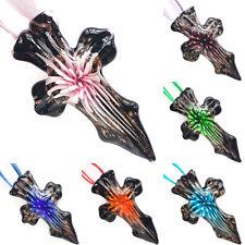 Flower Black Cross Gold Lampwork Murano Glass Bead Pendant Ribbon Necklace Cord