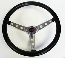 """1964-1966 Chevelle Grant Black Steering Wheel 15"""" Round Holes Stainless Blk/Red"""
