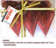 Set tre palle natale puntale in stoffa rossa per addobbo albero di natale