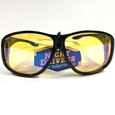 Solar Shield Foster Grant Night Driver Sunglasses Fits Over XL Round w/ bag NEW!
