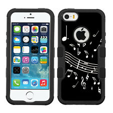 3-Layer Hybrid Case (Blk/Blk/Grip) for Apple iPhone 5 5s - Music Notes / Black