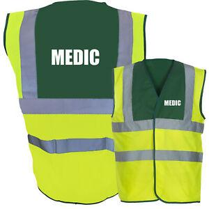 MEDIC Hi Vis Two Tone Paramedic Green / Yellow Hi Viz Safety Vest / Waistcoat...