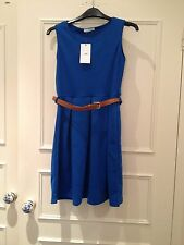 Electric Blue Skater Party Belted Flare Sleeveless Dress, Size M/L 12