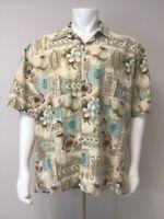 Campia Tiki Hawaiian Shirt Men Size XXL Short Sleeve Teal Beige Tan Tribal Flora