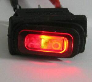 Red Illuminated Rocker Switch w/ Water Resistant Boot - SPST - 125V 16A - 12V DC
