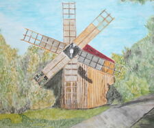 Impressionist landscape watercolor painting windmill