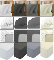 100% POLLY COTTON  FITTED SHEET FLAT BED SHEETS AND PILLOWCASE BEDDING MATTRESS