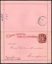 827 CHILE PS STATIONERY LETTER CARD 1895 CHILLAN - CONCEPCION
