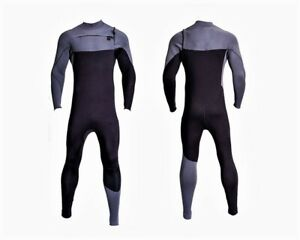 New XL Black Gray Chest Zip Wetsuit 3mm Neoprene Full Body Front Zipper Surf