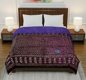 Indian Double Bed Razai Hand Block Floral Gold Printed Winter Cotton Quilt King