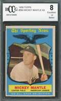 Mickey Mantle As Card 1959 Topps #564 New York Yankees BGS BCCG 8