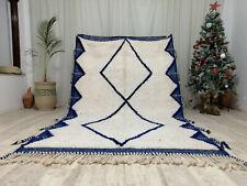 "Moroccan Handmade Beni Ourain Wool Carpet 5'4""x8'6"" Tribal White and Blue Rug"
