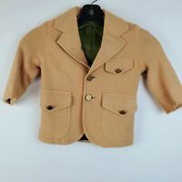 Vintage Toddler Child Tan Button Front Blazer 18 Month Lined Missing one Button