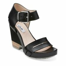 Womens Ladies Clarks Black Leather High Wedge Heel Sandals Shoes Size 4/37 New