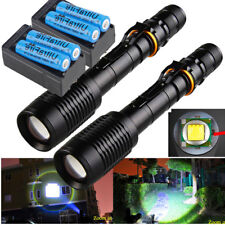 2 Sets Tactical Police 20000 Lumens T6 5Modes LED Flashlight Aluminum Zoom Torch