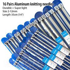 """16 Pairs 2mm-12mm Aluminium Knitting Needles Set Length 35cm(14"""") Aluminum"""