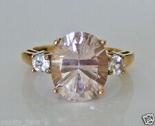 Beautiful 9ct Gold Morganite & White Topaz Ring Size K