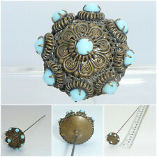 Antique Edwardian Turquoise Glass Hatpin brass metal Hat Pin