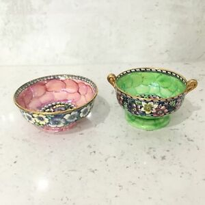 2 x Vintage Maling Pottery Floral Bowls, Newcastle England #460