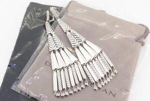 .Auth David Yurman Diamond Set Dangle Fringe Silver 925 Earrings RR $2800usd