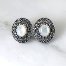 Genuine Sterling Silver 925 Big Oval Marcasite & Mother of Pearl Stud Earrings
