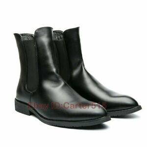 British Men Faux Leather Pull on High Top Ankle Boots Shoes Nightclub Size 38-48