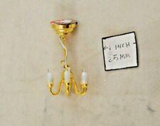Half 1/24 Scale Brass 6-Arm Candle Chandelier H2318 dollhouse miniature