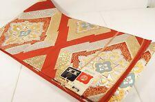 New Antique Oiso Sangyo Red Gold Green Silk Japanese Kimono Maru Obi/ Belt Japan