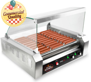 OPEN BOX - Commercial Electric 30 Hot Dog 11 Roller Grill Cooker Machine w Cover